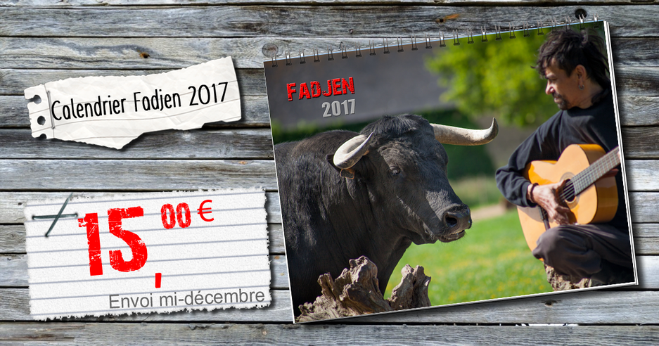 Calendrier vache 2017 - association anti corrida Fadjen
