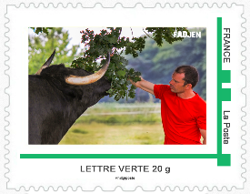 Timbres Poste vaches - collectionneur philatelie - association Fadjen taureau anti corrida